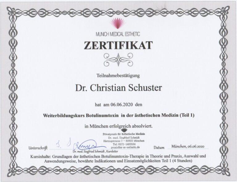 Zertifikat Botox