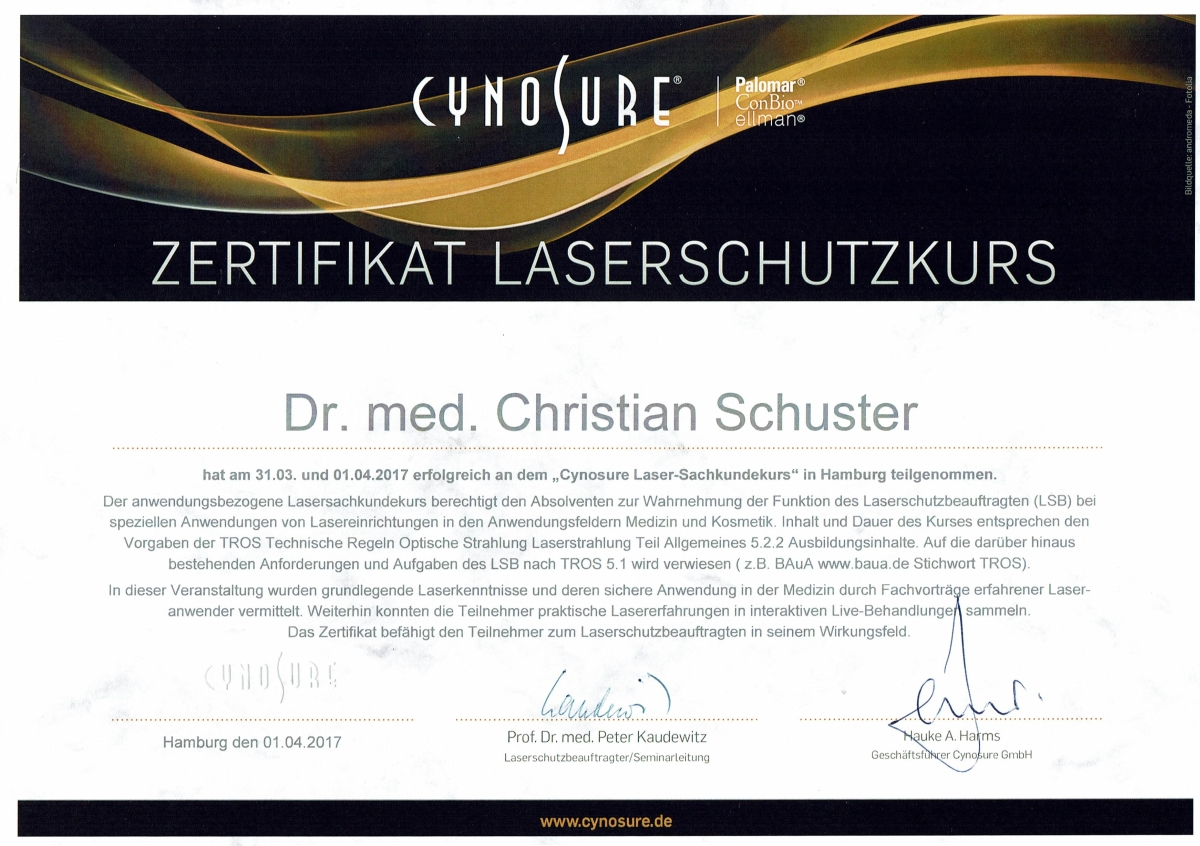 Zertifikat Laserschutzkurs